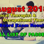 August 2018 Physical Therapist & Occupational Therapist Board Exam