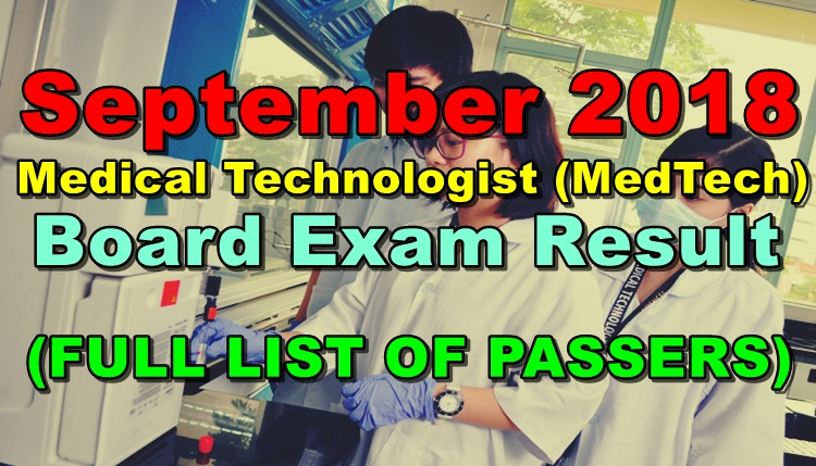 Medical Technologist (MedTech) Board Exam Result