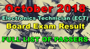 Electronics Technician (ECT) Board Exam Result October 2018 (FULL)