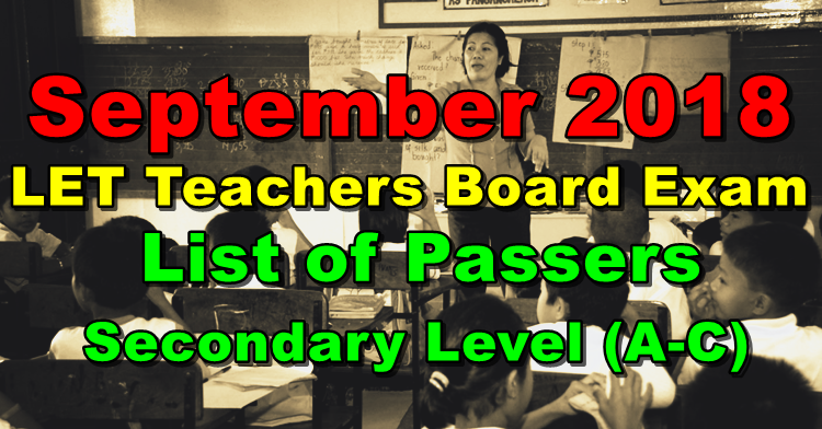 LET Teachers Board Exam Results September 2018 Secondary