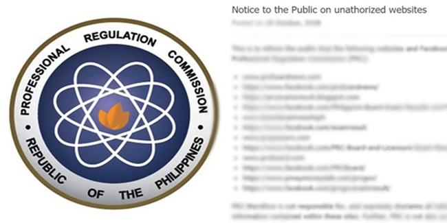 PRC Notice on Unauthorized Websites, Facebook Pages