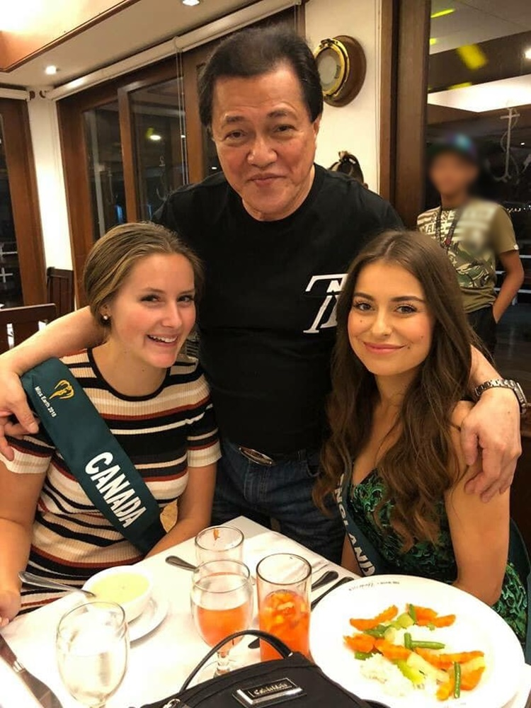 Amado S. Cruz with Miss Earth Candidates
