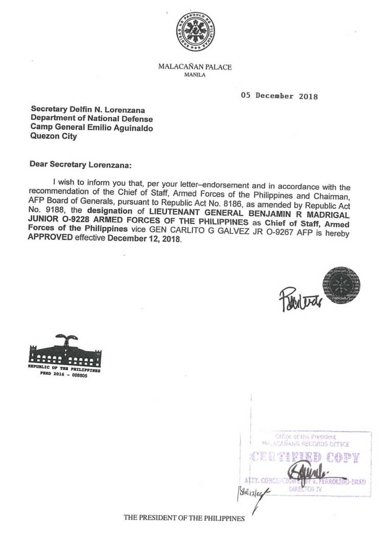 Benjamin Madrigal Appointment Letter