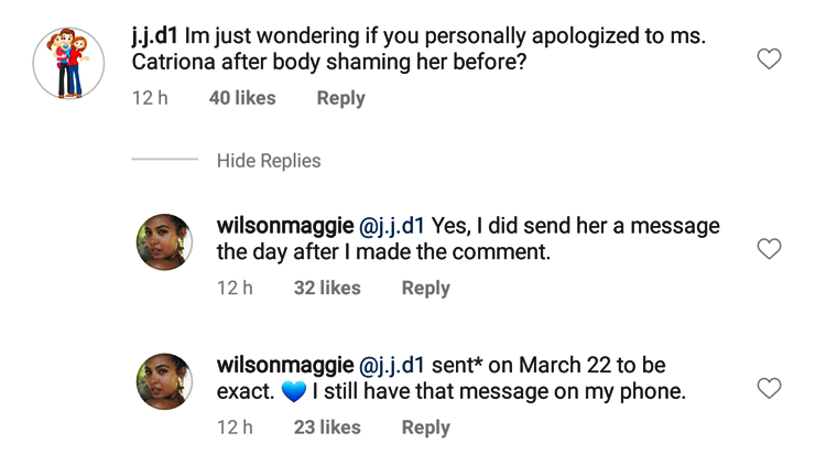 Maggie Wilson Apologized