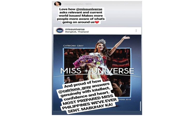 Miss Universe 2018 Janine on Catriona 6