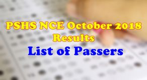 PSHS NCE October 2018 Results For A.Y. 2019-2020 List Of Passers