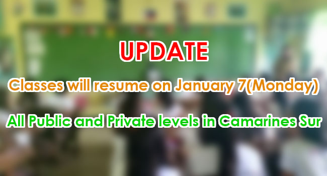 Classes In Camarines Sur Will Resume On January 7 Monday