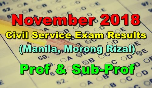 Civil Service Exam Results November 2018