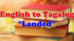 "English To Tagalog: Tagalog Translation of ""Landed"""