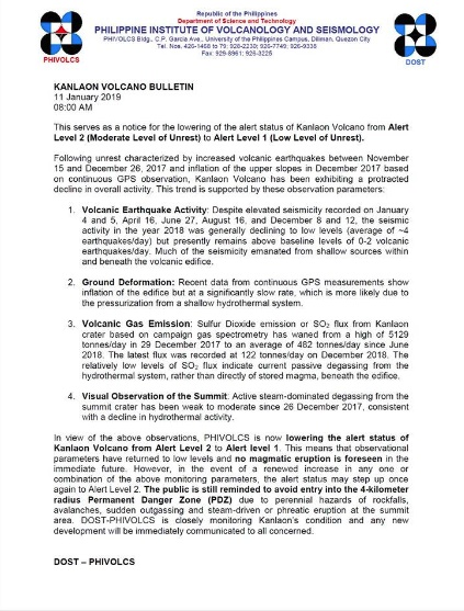 Kanlaon Volcano Bulletin