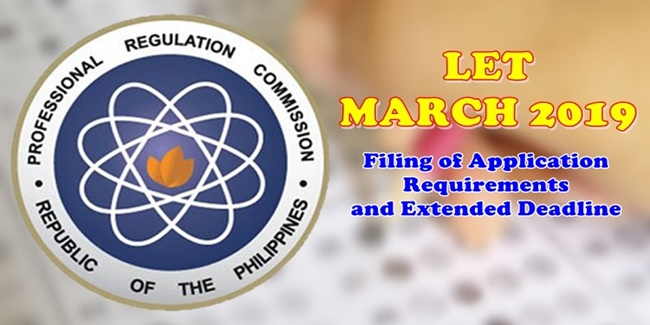 LET March 2019 Filing of Application requirements, deadline