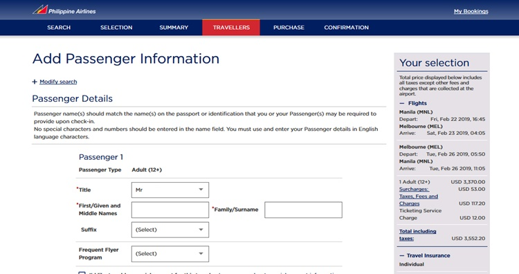 PAL Online Booking