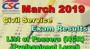 Civil Service Exam Results March 2019 – NCR Passers (Professional Level)