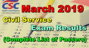 Civil Service Exam Results CSE-PPT March 2019 (Complete List of Passers)