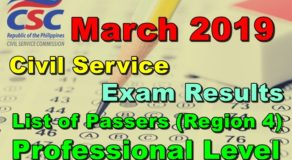 Civil Service Exam Results March 2019 – Region 4 Passers (Professional Level)