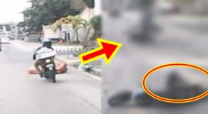 Motorcycle Rider Crashes Into Plastic Barrier Goes Viral