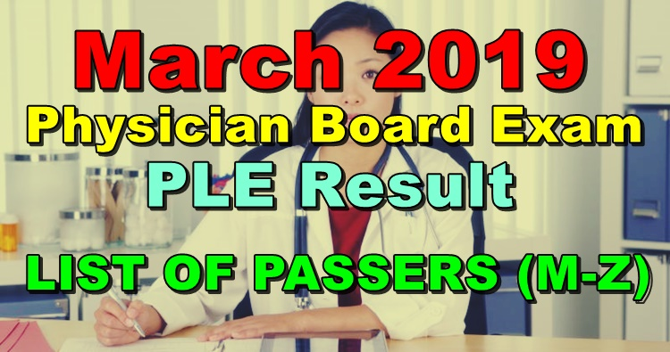 Physician Board Exam PLE Result