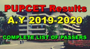 PUPCET 2019: PUP College Entrance Test Results A.Y 2019-2020