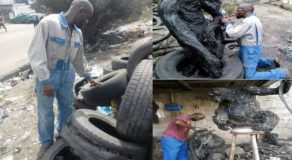 African Guy Shows Amazing Artworks Made Up of Used Tires