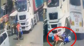 Motorist & Back Rider Got Into Accident After Entering Truck's Blind Spot