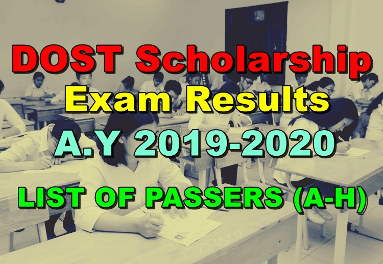 DOST Scholarship Exam Results A Y 2019-2020 - List of