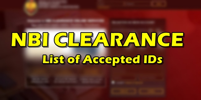 NBI Clearance Accepted IDs