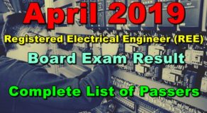REE Electrical Engineer Board Exam Result April 2019 (Full List)
