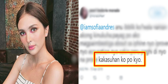 Sofia Andres and netizen on Iphone