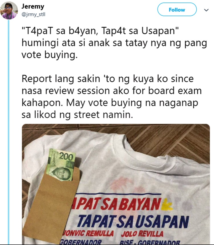 election 2019 alleged vote-buying