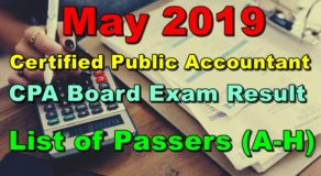 CPA Board Exam Result May 2019 (A-H List of Passers)
