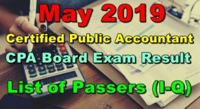 CPA Board Exam Result May 2019 (I-Q List of Passers)