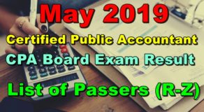 CPA Board Exam Result May 2019 (R-Z List of Passers)