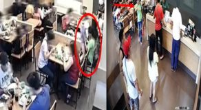 Female Thief Caught on Camera Stealing Lady Customer's Mobile Phone