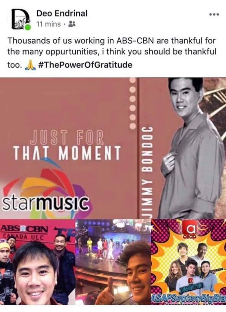 ABS-CBN Executive Deo Endrinal post