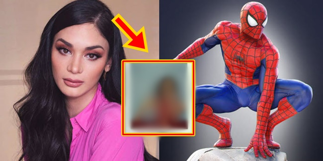 Pia Wurtzbach Spiderman pose 1