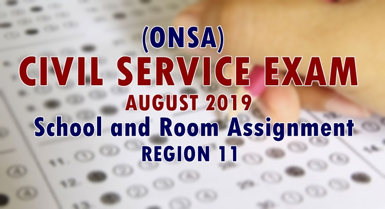 ONSA Civil Service Exam August 2019 School & Room Assignment
