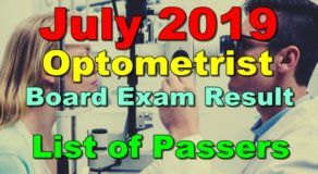 Optometrist Board Exam Result July 2019 – List of Passers