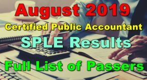 Certified Public Accountant Board Exam Result August 2019 (SPLE)