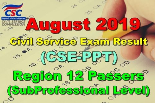 Civil Service Exam Result August 2019