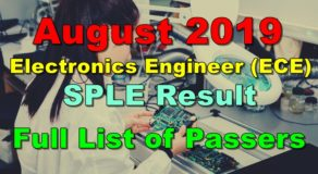 Electronics Engineer Board Exam Result August 2019 (SPLE)