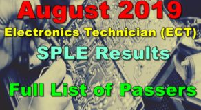 Electronics Technician Board Exam Result August 2019 (SPLE)