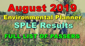 Environmental Planner Board Exam Result August 2019 (SPLE)
