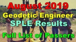 Geodetic Engineer Board Exam Result August 2019 (SPLE)
