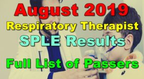 Respiratory Therapist Board Exam Result August 2019 (SPLE)