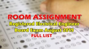 Room Assignment Electrical Engineer Board Exam August 2019 (Full-List)