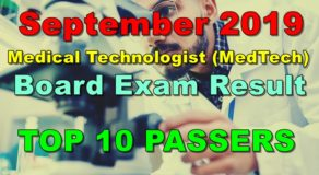 Medical Technologist Board Exam Result September 2019 – Top 10 Passers