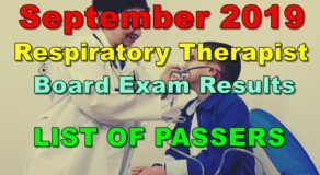 Respiratory Therapist Board Exam Result September 2019 – List of Passers