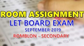 Room Assignment LET Board Exam September 2019 (Romblon-Secondary)