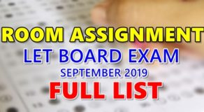 Room Assignments LET September 2019 Teachers Board Exam (Full List)