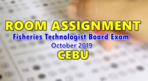 Room Assignment Fisheries Technologist Board Exam October 2019 (Cebu)